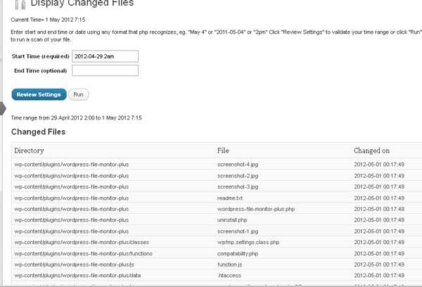 мониторинг изменений файлов WordPress
