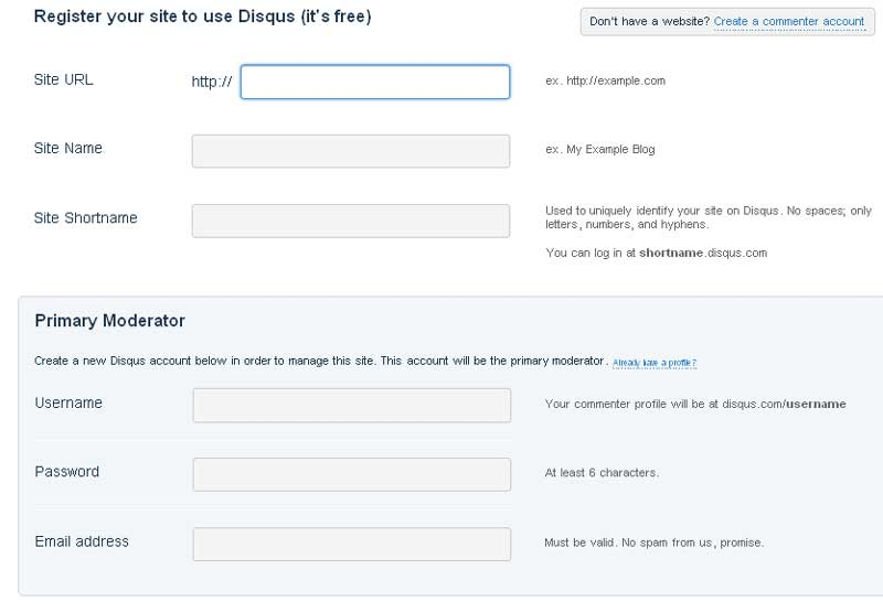 форма регистрации disqus