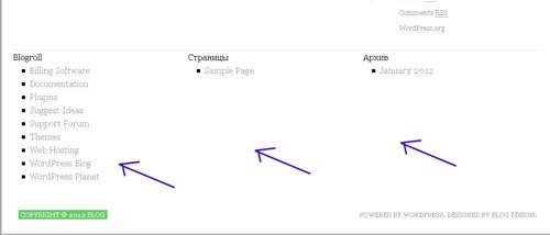 виджет в подвале WordPress